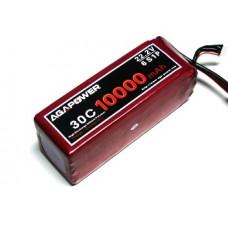 Аккумулятор AGA POWER Li-Po 10000mAh 22.2V 6S 30C Softcase 62x57x165мм T-Plug